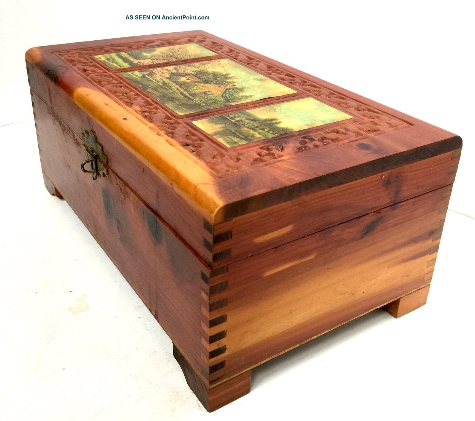 Wooden Jewelry Box Trinket Carved Cedar Mirror Scenes Footed Repaired Boxes photo