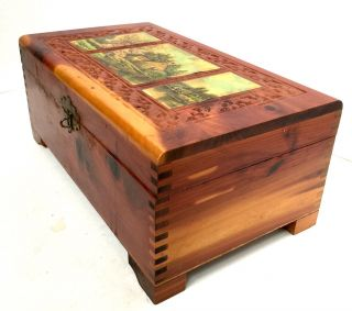 Wooden Jewelry Box Trinket Carved Cedar Mirror Scenes Footed Repaired photo
