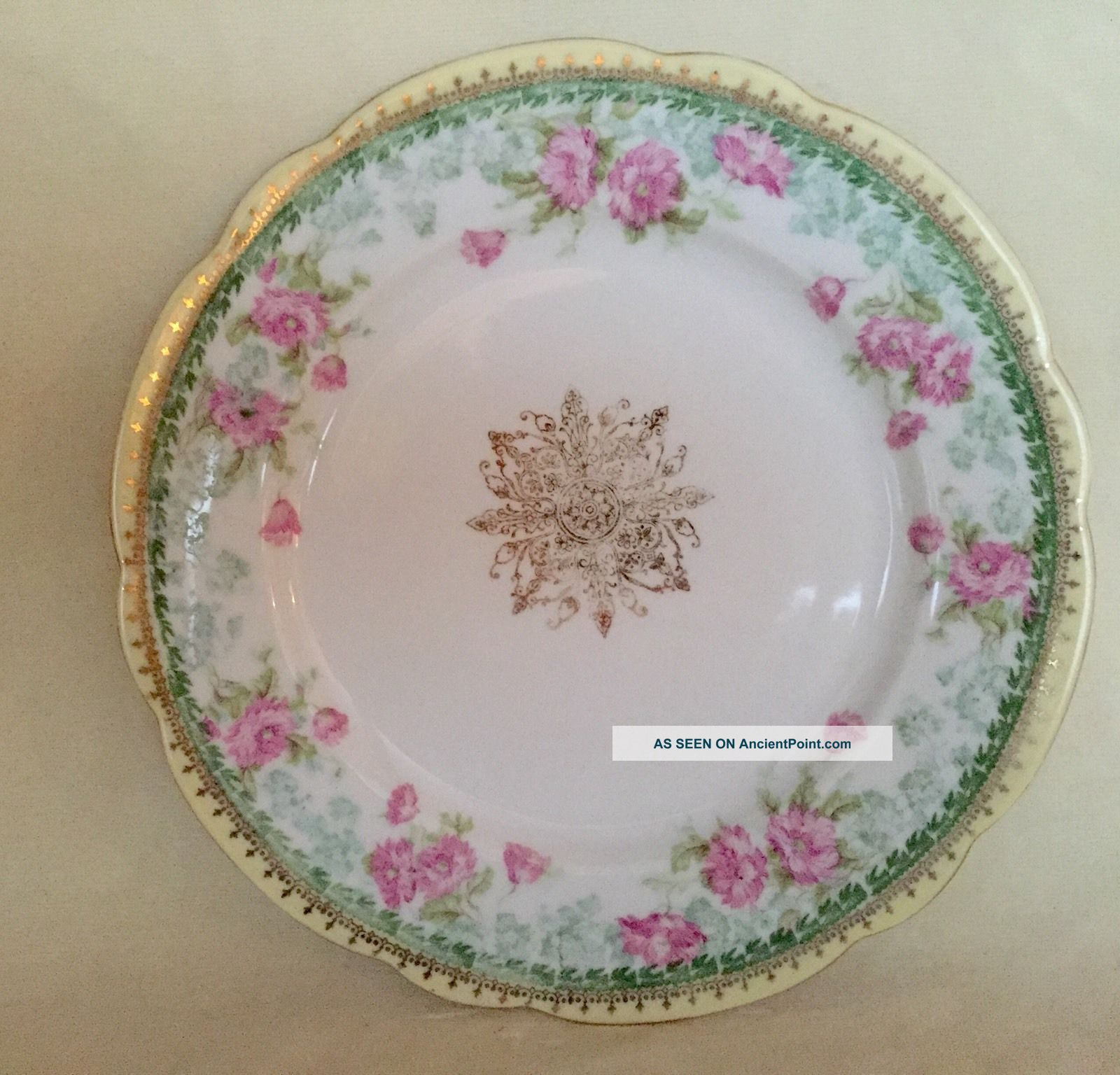 Antique Bawo & Dotter Imperial Austria Porcelain Plate Hand Painted Flowers Plates & Chargers photo