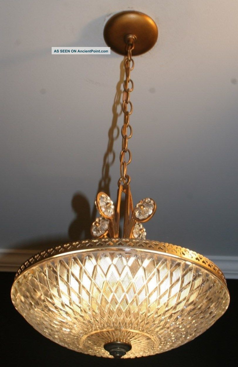 Antique Glass Art Deco Light Fixture Ceiling Chandelier Custom Built Chandeliers, Fixtures, Sconces photo