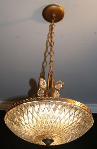 Antique Glass Art Deco Light Fixture Ceiling Chandelier Custom Built photo