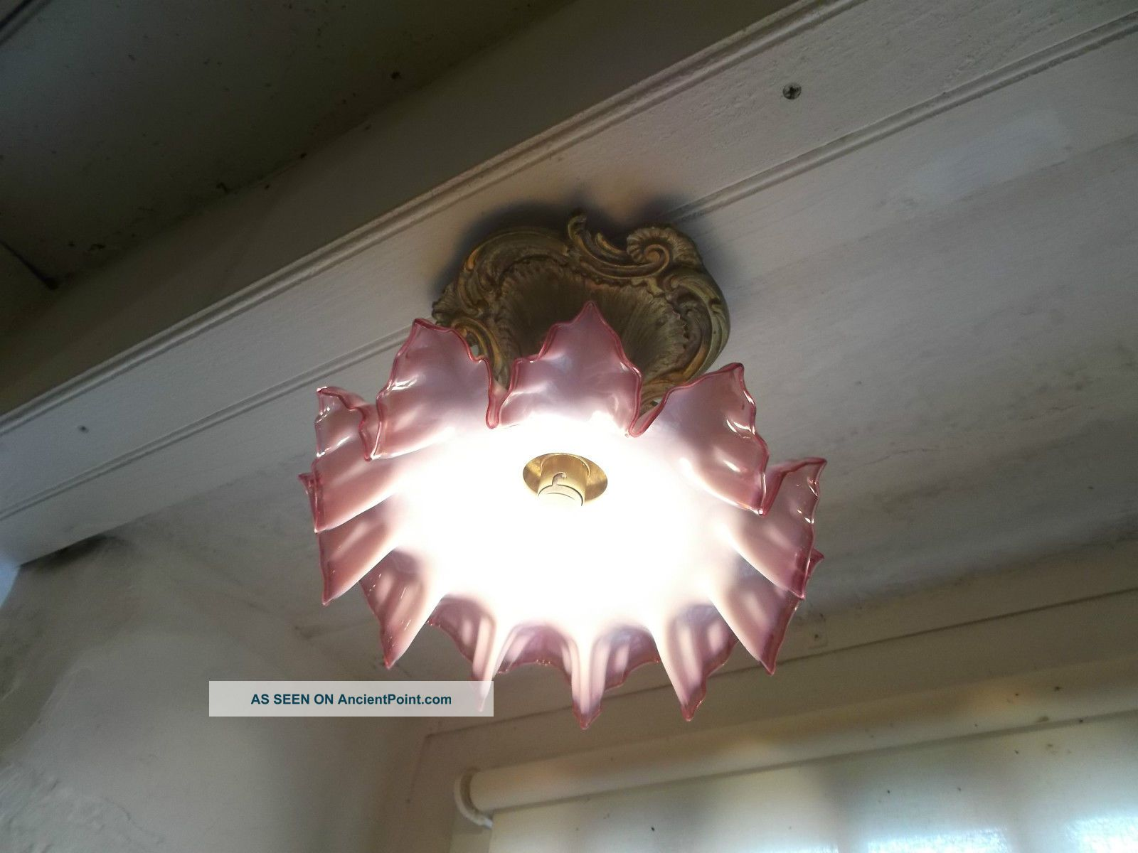 French Antique Ceiling Light Frosted Glass Shade Red Trim With Ornate Bronze Chandeliers, Fixtures, Sconces photo