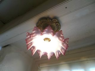 French Antique Ceiling Light Frosted Glass Shade Red Trim With Ornate Bronze photo