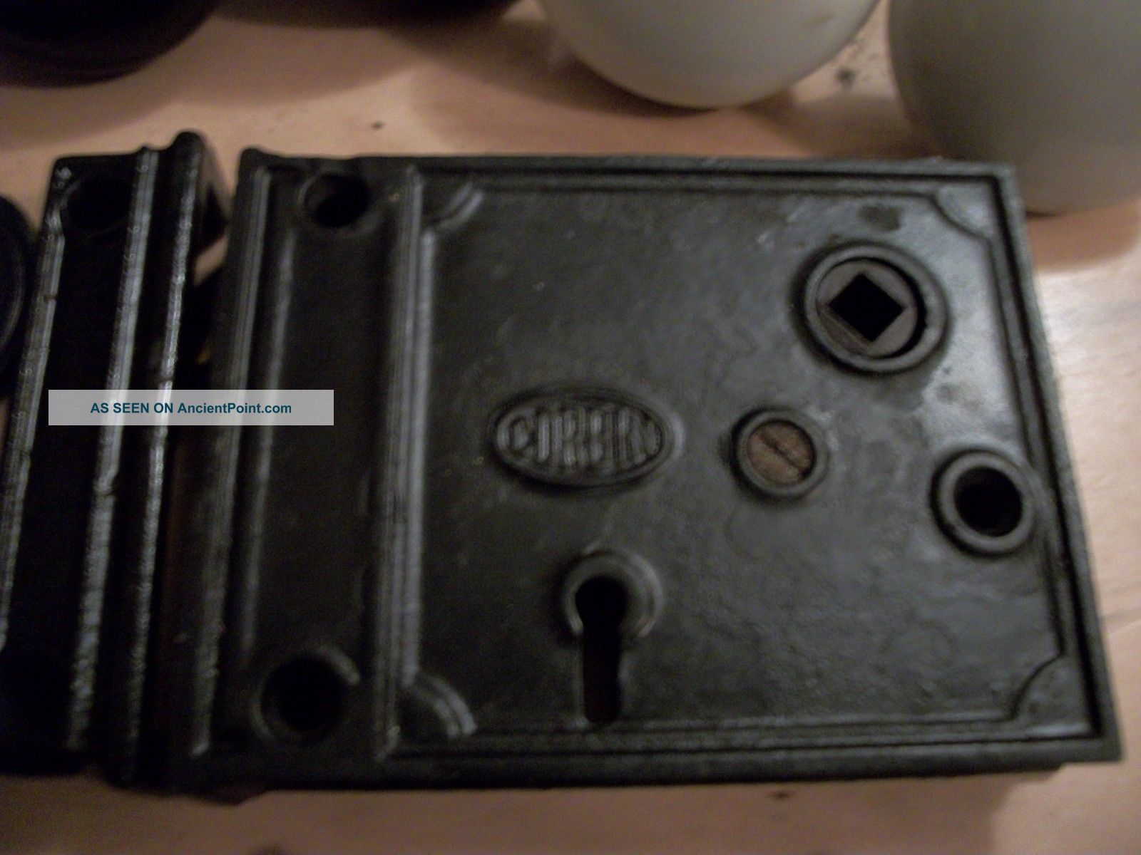 Antique - Old - Vintage - Collectible - Rim Lock - W/ Knobs -,  Keeper - Spindle - Rose - Key Locks & Keys photo