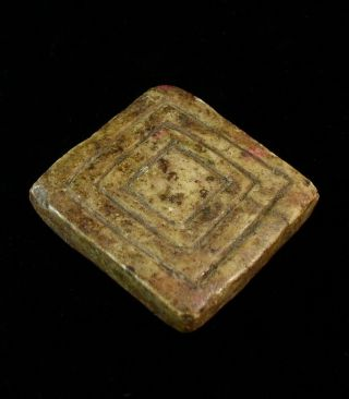 Antique Stone Magic Amulet Andes Indian Patina Charm Talisman Tm12712 photo