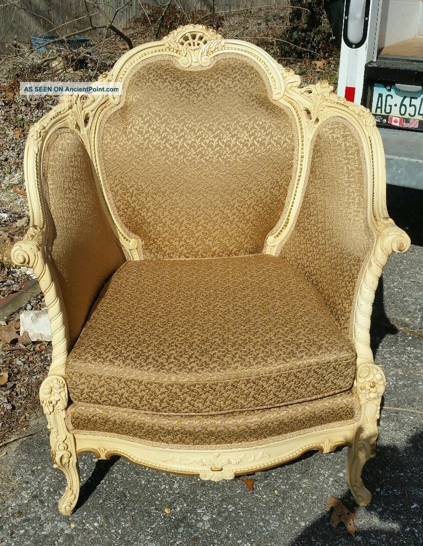 Vintage French Provincial Gold Wing Back Lounge Bergere Arm Chair Post-1950 photo