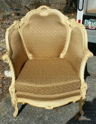Vintage French Provincial Gold Wing Back Lounge Bergere Arm Chair photo