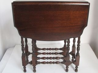 Antique Small English Drop Leaf Gate Leg Tea Table photo