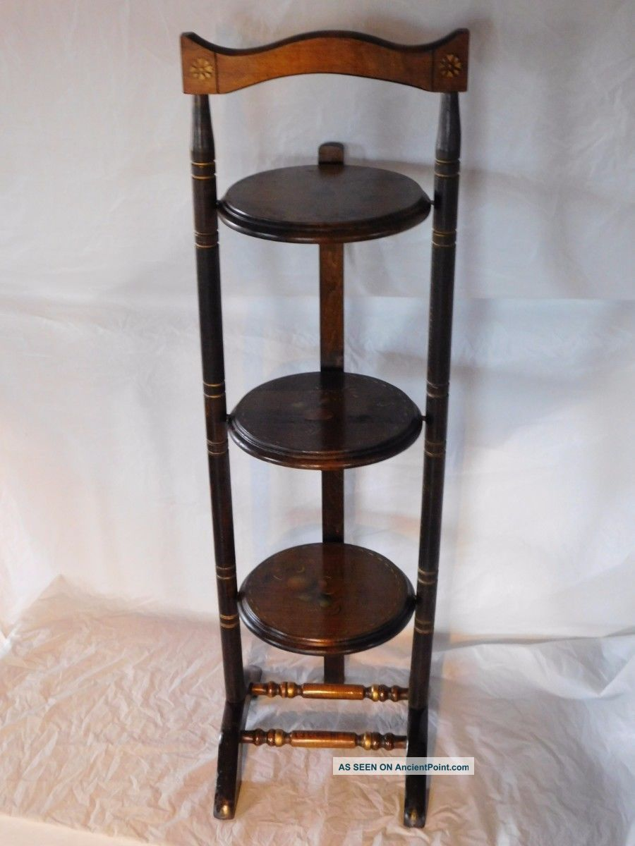 Hitchcock Pie Plant Folding Tole Wooden Stand Table Early American Americana Old 1900-1950 photo