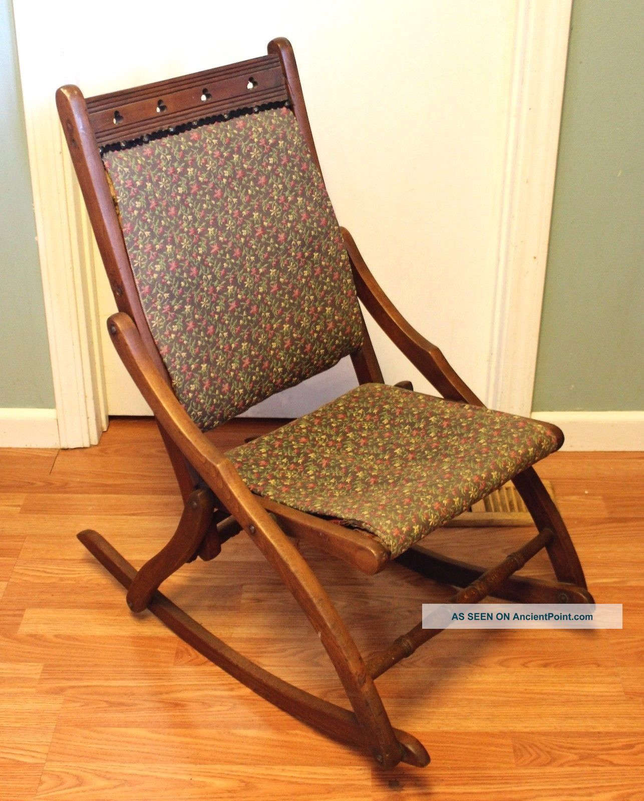 Vintage Folding Wood Rocking Chair With Fabric Seat And Back 1900-1950 photo