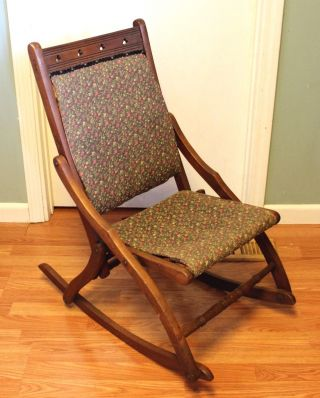Vintage Folding Wood Rocking Chair With Fabric Seat And Back photo