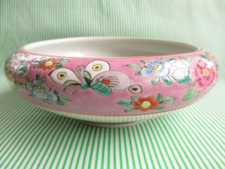 Butterfly Pattern Famille Rose Falangcai Cloisonne Porcelain Bowl With Flowers photo