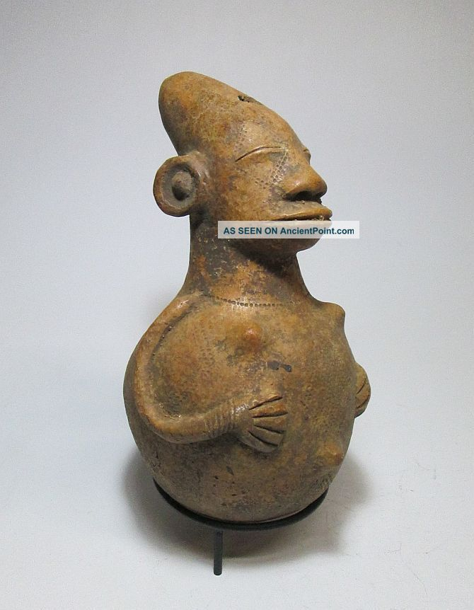 Serene Mangbetu Pottery Vessel With Image Of A Peaceful Ancestor,  African Art Sculptures & Statues photo