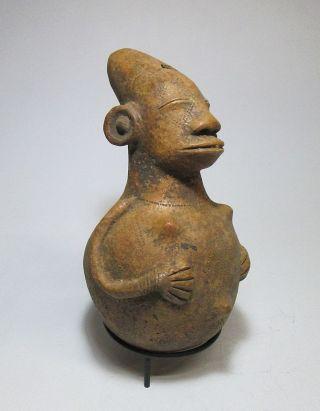Serene Mangbetu Pottery Vessel With Image Of A Peaceful Ancestor,  African Art photo
