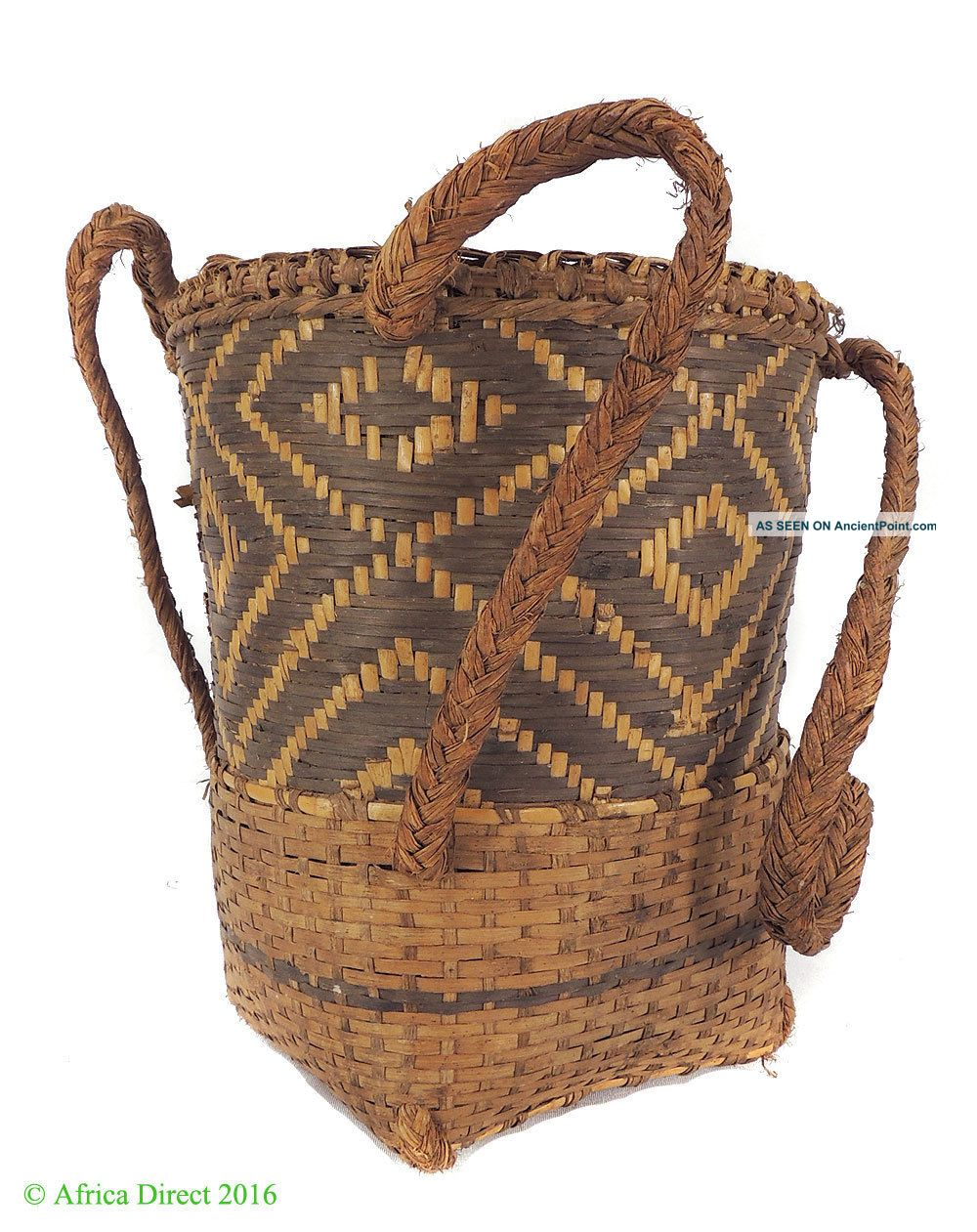 Kuba Basket Lidded With Strap Handwoven Congo African Art Was $99 Other African Antiques photo