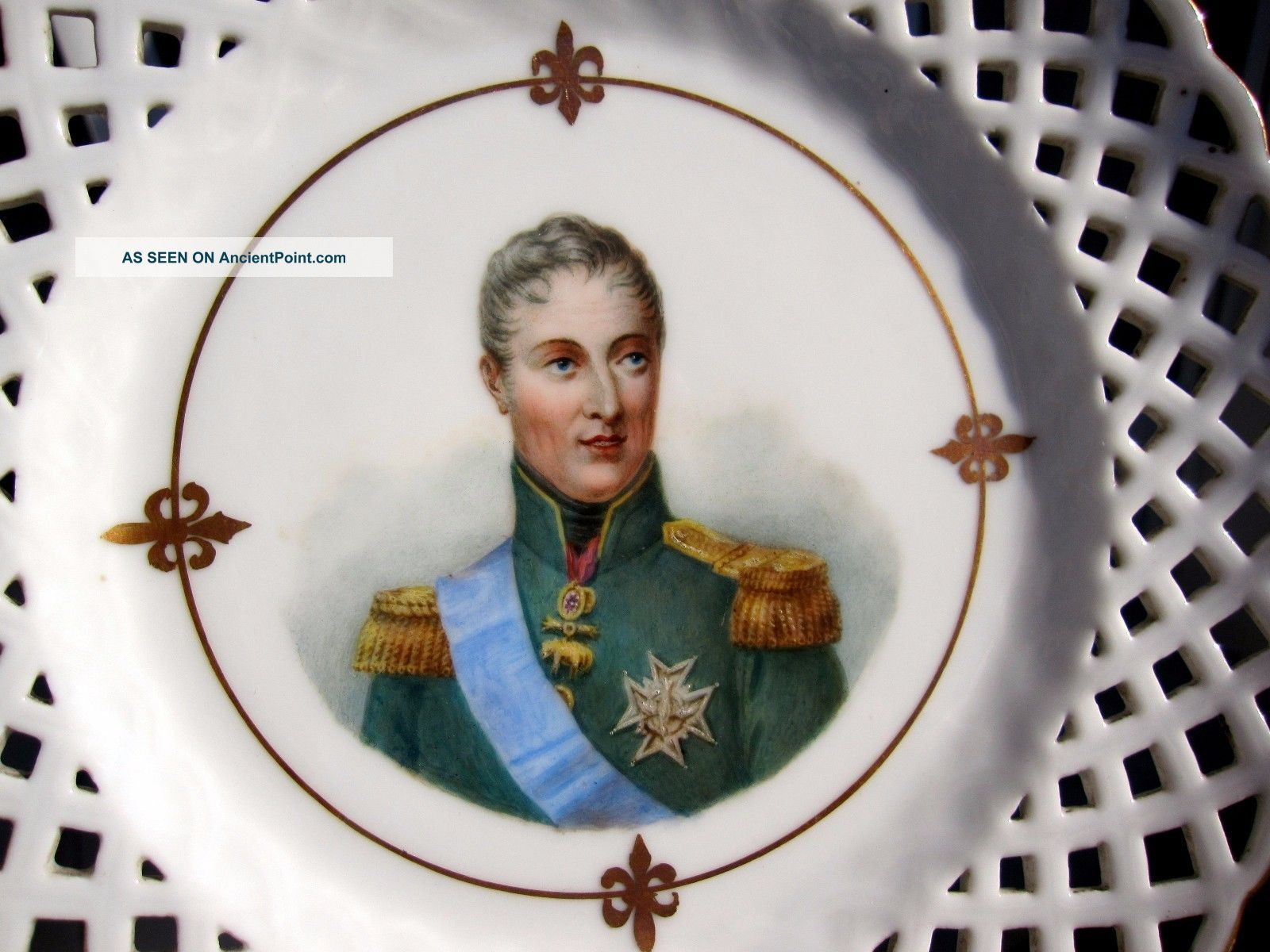 Antique Xix French Porcelain Hand Painted Plate King Charles X Of France Plates & Chargers photo