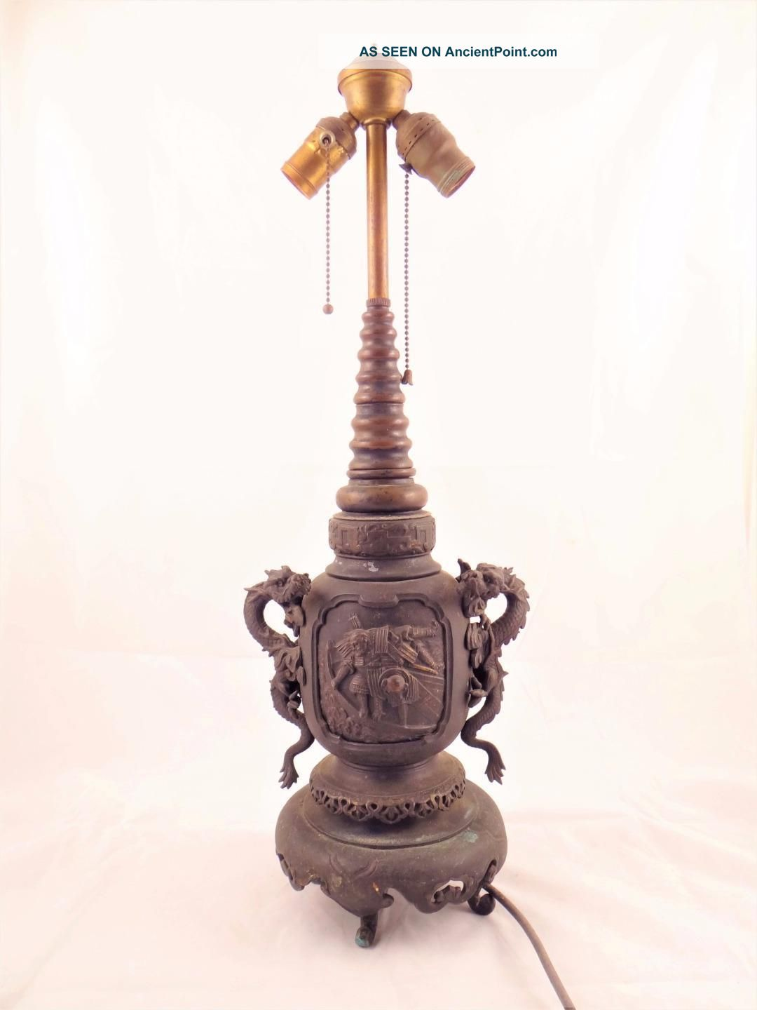 Antique Japanese Cast Metal Figural Lamp W/ Double Dragon Handles Lamps photo