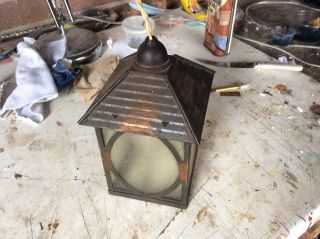 Metal Arts And Crafts Period Hall Lantern Copper Ized 1920 - 40 photo