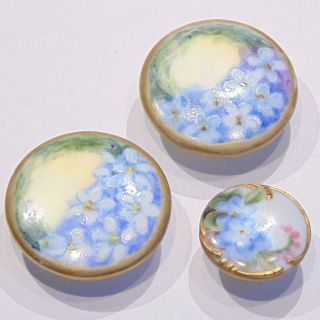 3 Antique Victorian Hand Painted Porcelain Stud Buttons Blue Forget Me Not Gilt photo