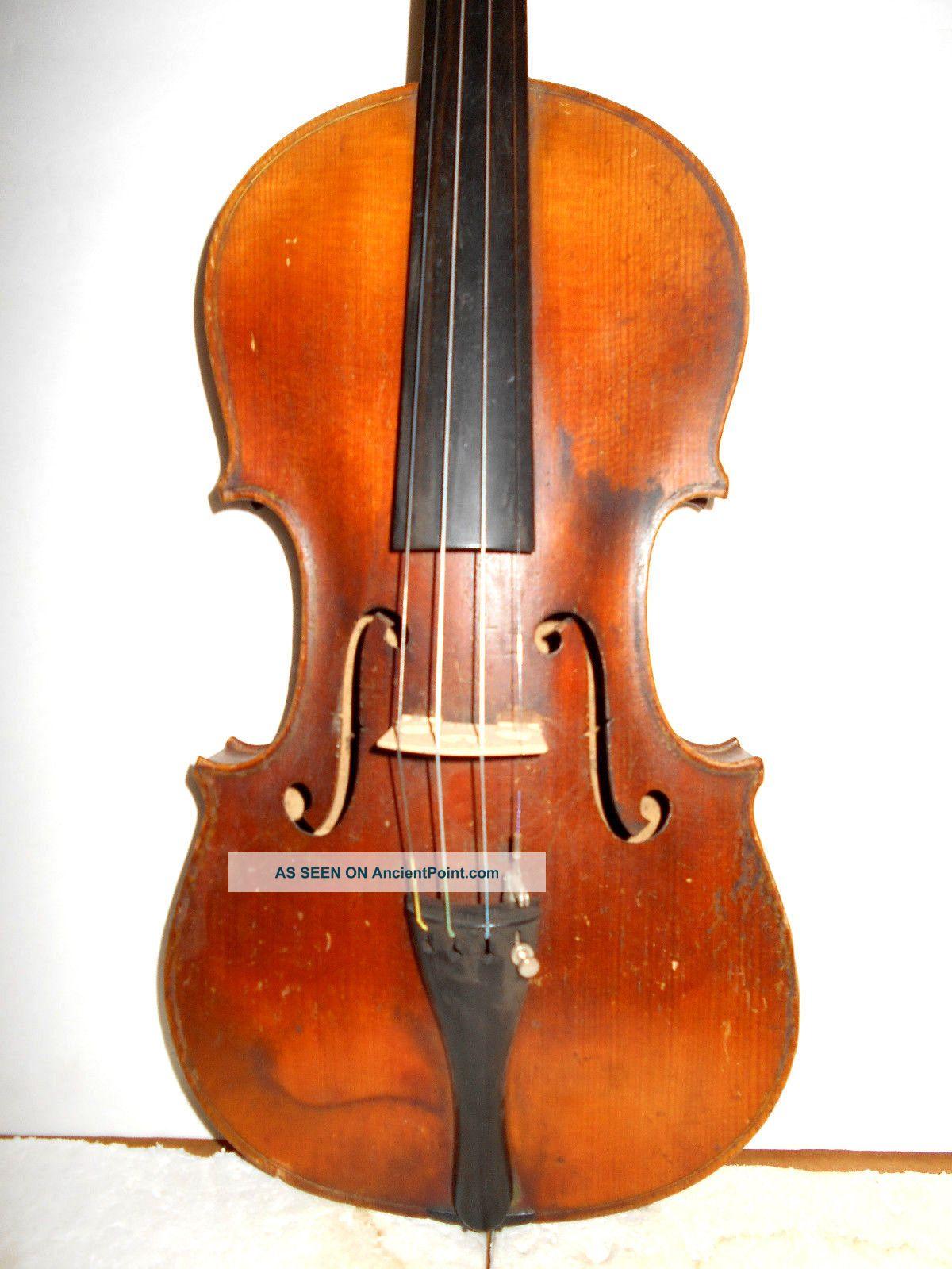 Vintage Old Antique 1800s 1 Pc Back Full Size Violin - String photo