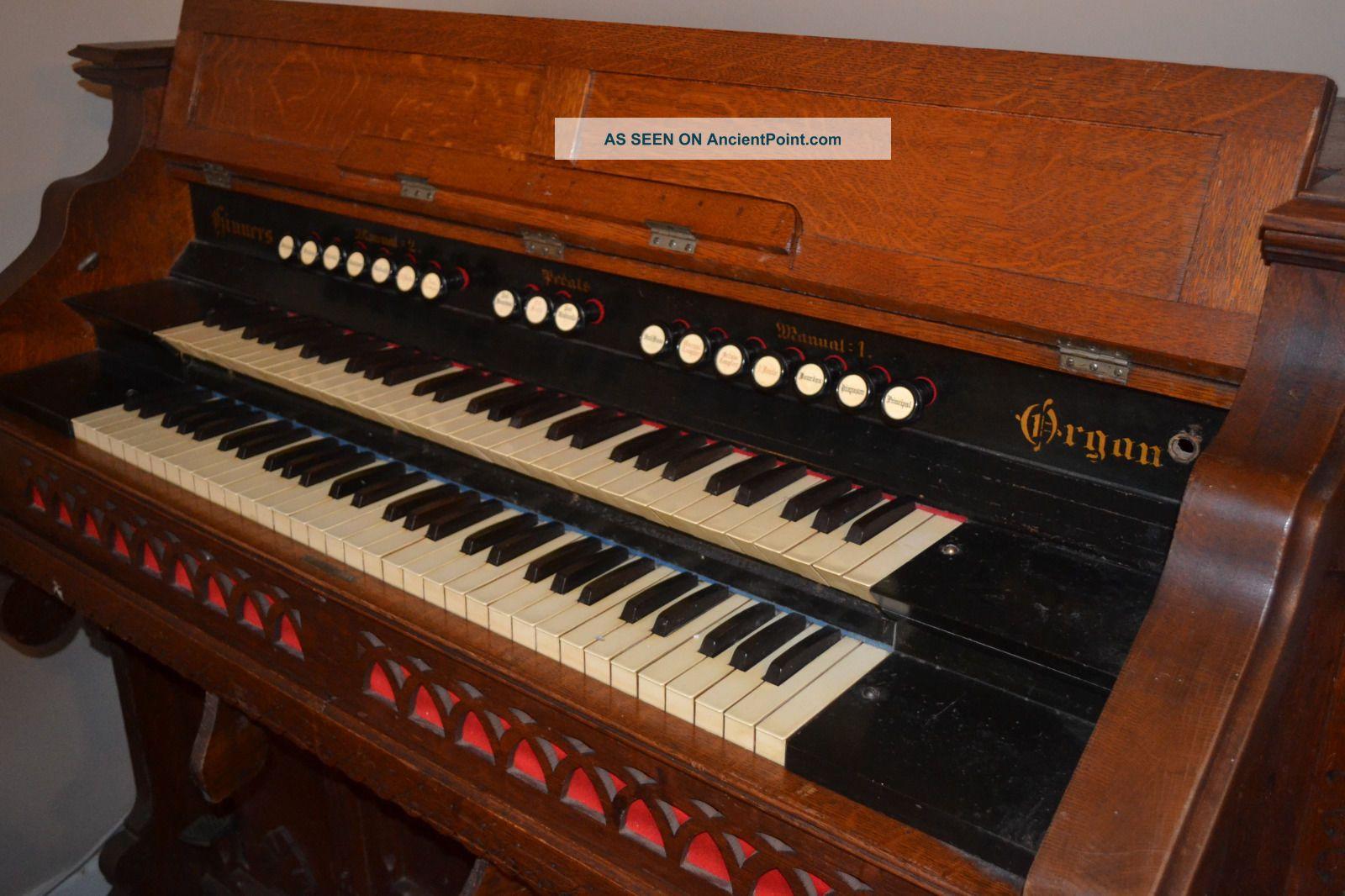 Vintage Oak Hinners Pump Organ Keyboard photo
