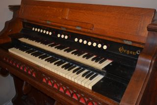 Vintage Oak Hinners Pump Organ photo