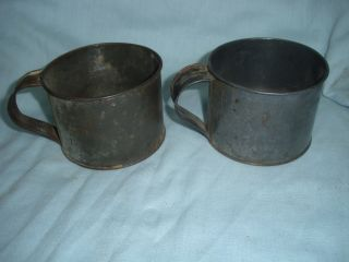 Vintage Antique Primitive Tin Drinking Cups With Handle photo