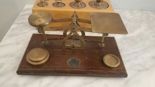 Vintage Postal Balance Scale Brass Wood With Weights - Made In England photo