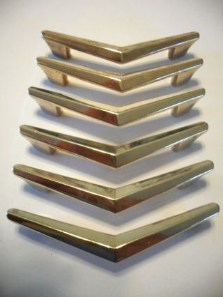 6 Vintage Brass Plated Chevron Boomerang Drawer Pulls Cabinet Door Handle Atomic photo