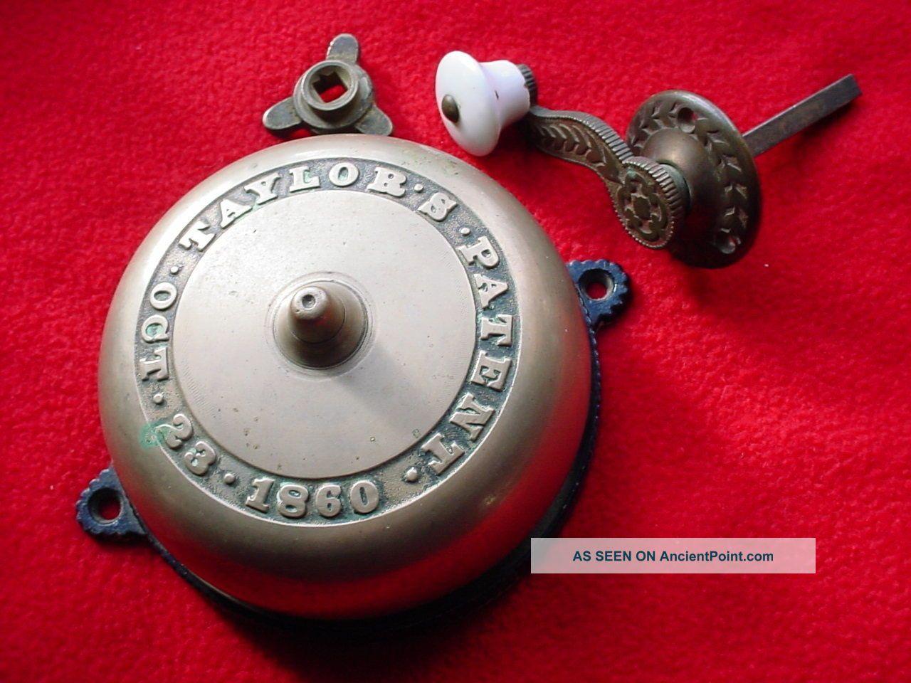 Antique Victorian Mechanical Doorbell With Brass Crank Handle Door Bells & Knockers photo
