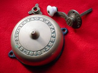 Antique Victorian Mechanical Doorbell With Brass Crank Handle photo
