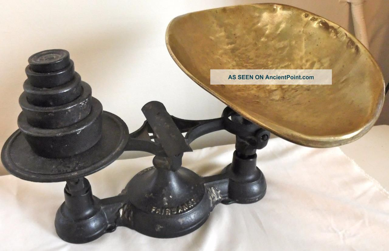 Small 1877 Fairbanks Balance Scale W/ Weights Brass Scoop Antique Scales photo