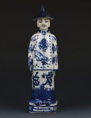 Chinese Blue And White Handwork Emperor Character Statue Gd8378 photo