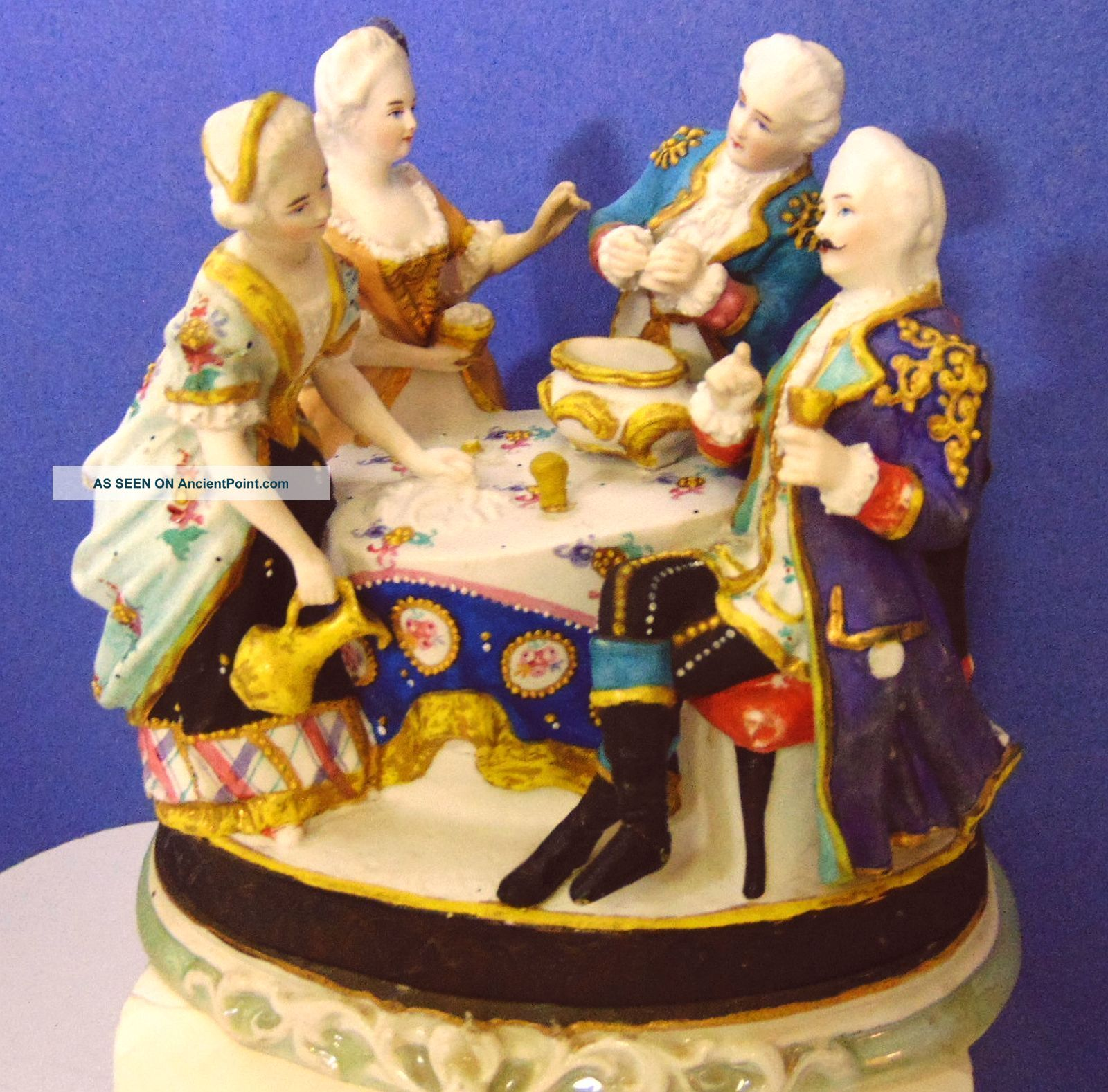 Antique 4 Figure German Conta Boehme Faring China Inkstand Inkwell Porcelain Art Figurines photo