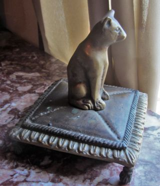 Fantastic Rare Egyptian Revival Bronze Box With Stylized Cat Finial & Claw Feet photo