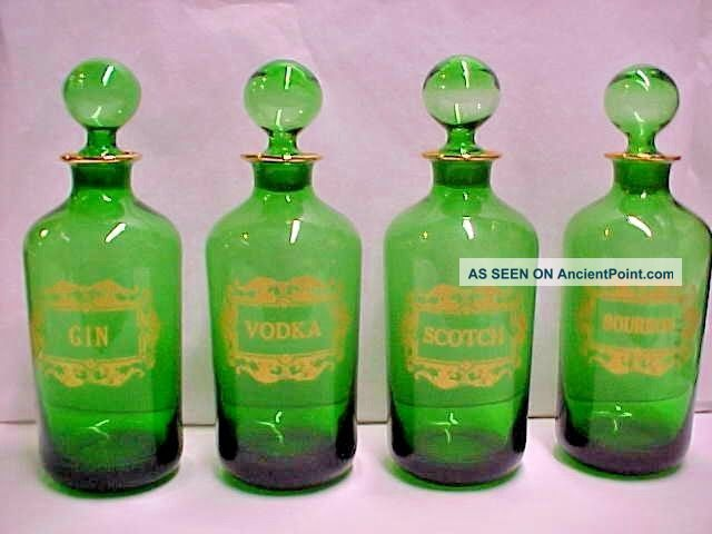 Antique French Green Glass Gilt Liquor Decanter Bottle Bourbon Scotch Vodka Gin Decanters photo