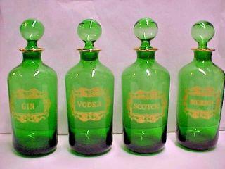 Antique French Green Glass Gilt Liquor Decanter Bottle Bourbon Scotch Vodka Gin photo