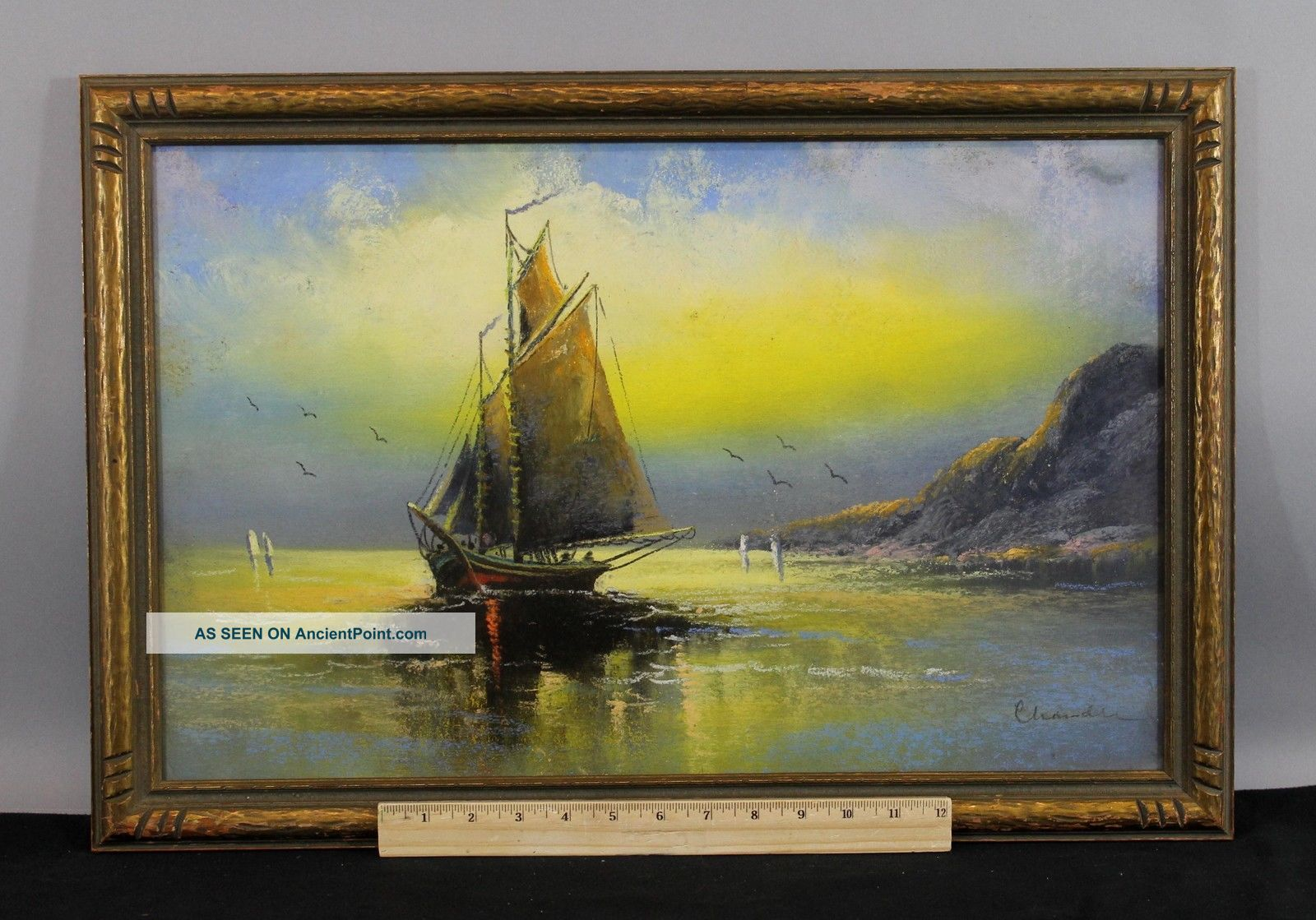 Antique William Chandler Seascape Nautical,  Luminist,  Tonalist Pastel Drawing Other Maritime Antiques photo