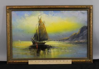 Antique William Chandler Seascape Nautical,  Luminist,  Tonalist Pastel Drawing photo