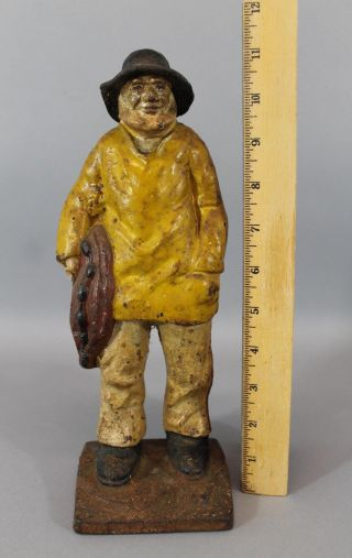 11.  5in Antique C1920s Cast Iron Old Salt Nautical Sailor Fisherman Doorstop,  Nr photo