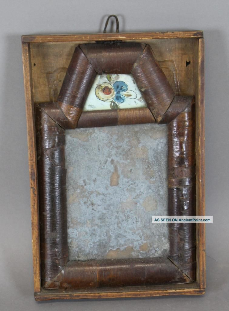 Very Rare William And Mary 18th C Miniature Courting Mirror In Its Box Primitives photo