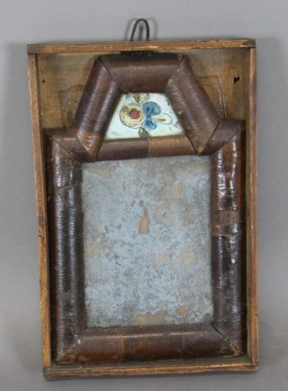 Very Rare William And Mary 18th C Miniature Courting Mirror In Its Box photo
