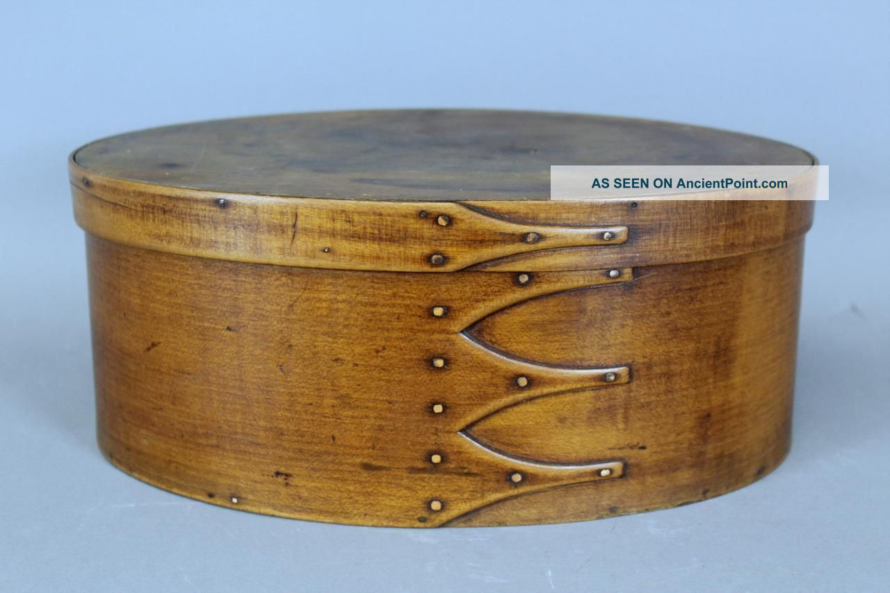 A Rare Large 19th C Enfield Ct Shaker Four Finger Oval Pantry Box In Cherry Primitives photo