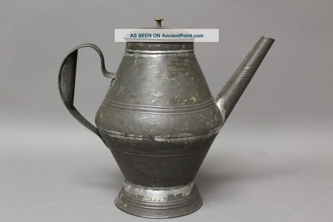 A Very Early 19th C Pa Tin Coffee Pot In Surface Great Early Form Primitives photo
