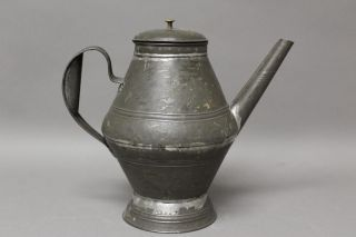 A Very Early 19th C Pa Tin Coffee Pot In Surface Great Early Form photo
