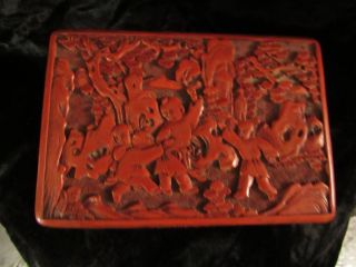 Antique Chinese Cinnabar Lacquer Box,  6 Inches photo