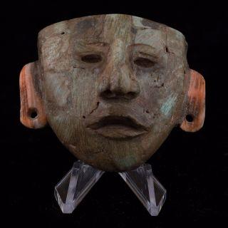 Teotihuacan Stone Maskette/mask Pendant - Antique Pre Columbian - Maya Olmec photo