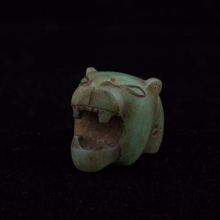 Mayan Stone Roaring Jaguar Head Amulet Pendant - Antique Pre Columbian - Maya Olmec photo