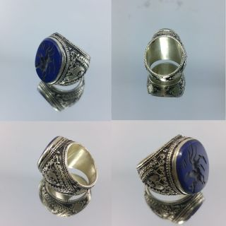 Medieval Islamic Old Men Ring With Engraved Antique Lapis Lazuli Stone photo