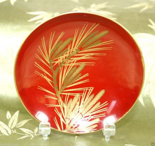 Antique Japanese Red Lacquer Sake Cup W/gold Lacquer Pine Needles Meiji Period photo